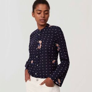 Ann Taylor LOFT Embroidered Bell Sleeve Blouse